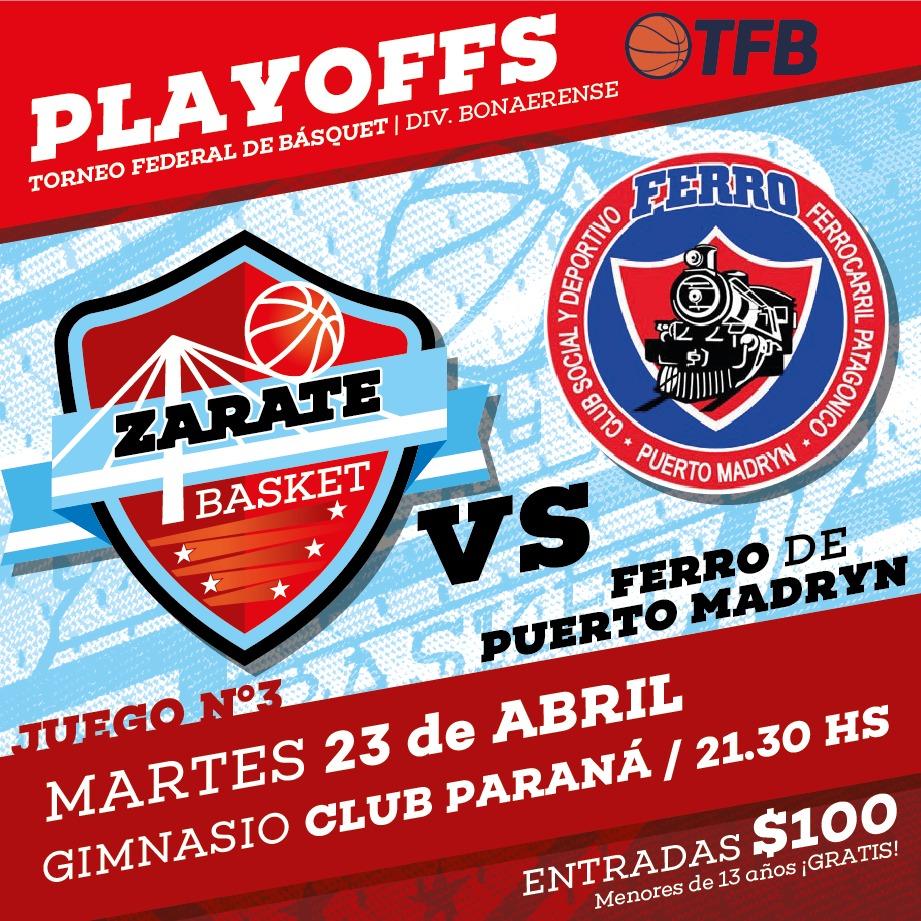 Zárate Basket recibe a Ferro de Madryn y buscará ratificar su ventaja deportiva